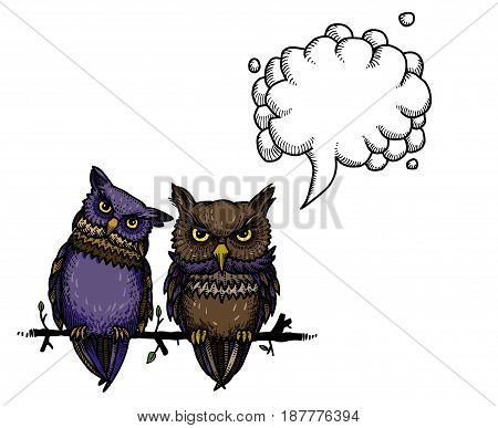 Cartoon image of cute owls. An artistic freehand picture. With speech bubble.