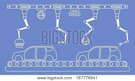 Thin line style car assembly line. Automatic auto production conveyor. Robotic car industry concept. Vector illustration.