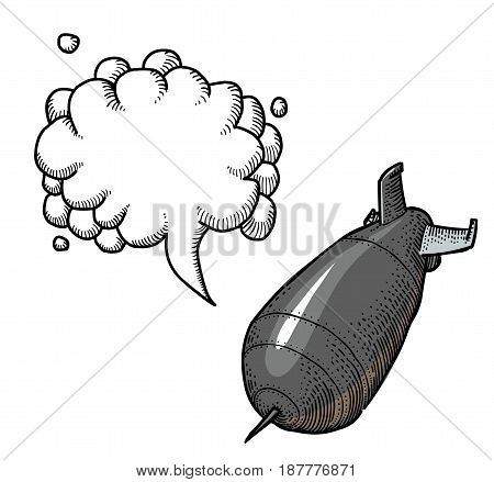 Cartoon image of falling bomb. An artistic freehand picture. With speech bubble.