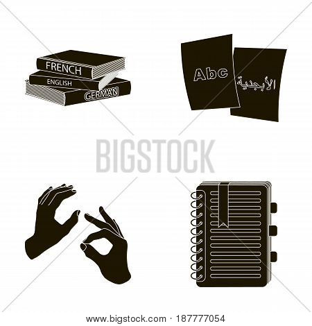 A pile of books in different languages, sheets of paper with translation, a gesture of deaf mutes, a notebook with text. Interpreter and translator set collection icons in black style vector symbol stock illustration .