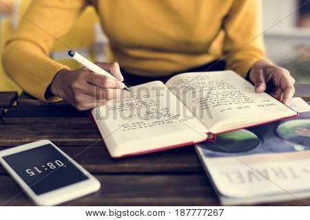 Woman Writing Sitting Wooden Table