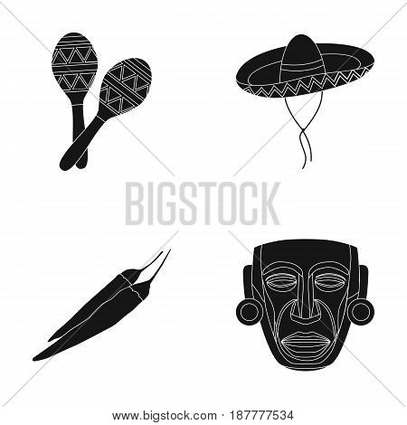 Maracas national musical instrument, sambrero traditional Mexican headdress, red pepper, bitter, idol-deity.Mexico country set collection icons in black style vector symbol stock illustration .