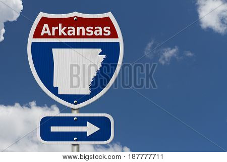 Road trip to Arkansas Red white and blue interstate highway road sign with word Arkansas and map of Arkansas with sky background 3D Illustration