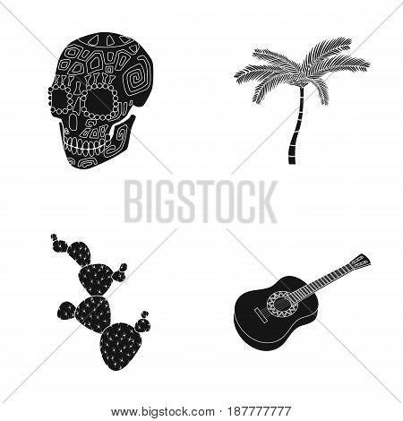 Green skull with a picture, a palm tree, a guitar, a national Mexican instrument, a cactus with spines. Mexico country set collection icons in black style vector symbol stock illustration .
