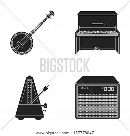 Banjo, piano, loudspeaker, metronome. Musical instruments set collection icons in black style vector symbol stock illustration .