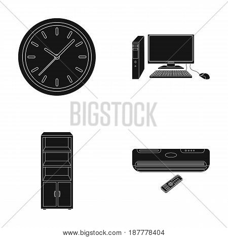 Clock with arrows, a computer with accessories for work in the office, a cabinet for storing business papers, air conditioning with remote control. Office Furniture set collection icons in black style vector symbol stock illustration .