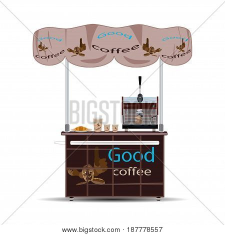 Vector illustration of coffee stall isolated on white background. Sales booth stand in flat style.