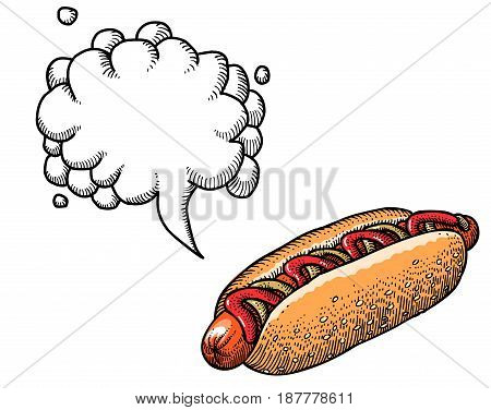 Cartoon image of hotdog. An artistic freehand picture. With speech bubble.