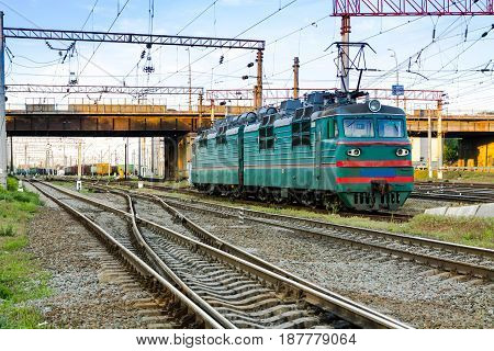 Electric locomotive. Railway. A train. Electric locomotive of Soviet times.