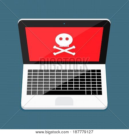 Laptop with Skull and Crossbones vector design