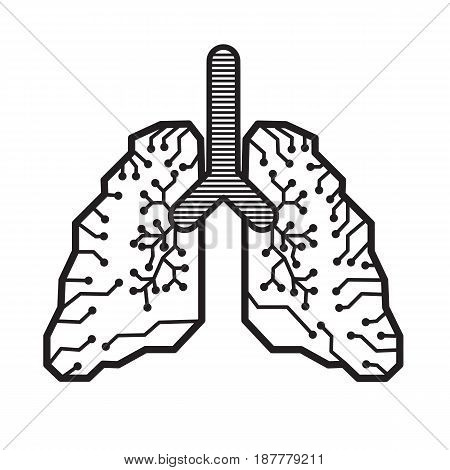Lung electronic line vector design on white background.