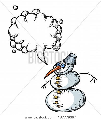 Cartoon image of snowman. An artistic freehand picture. With speech bubble.