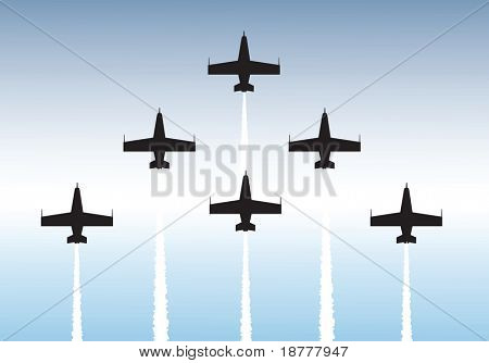 Illustration of jets flying in formation. Available as vector or .jpg file