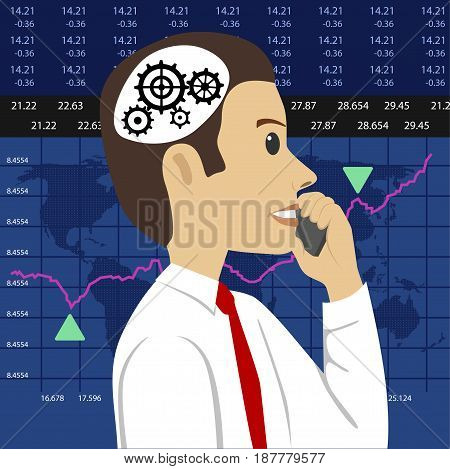 Head and gears. Young stock broker talking on the phone over charts of financial instruments with various type of indicators