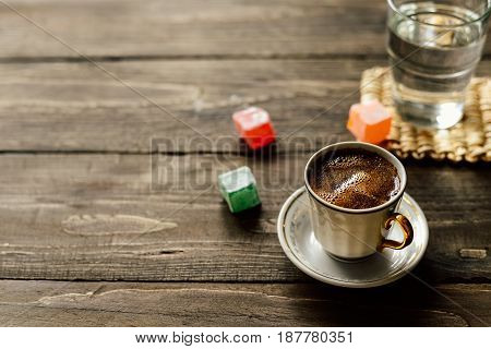 Turkish black coffee with Turkish delight lokum