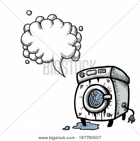 Cartoon image of washing machine. An artistic freehand picture. With speech bubble.