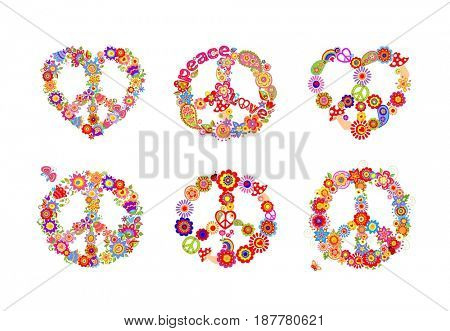 Hippie peace flowers symbols collection