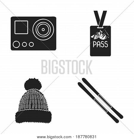 Camera action, a lifeguard token, a warm hat, ski. Ski resort set collection icons in black style vector symbol stock illustration .