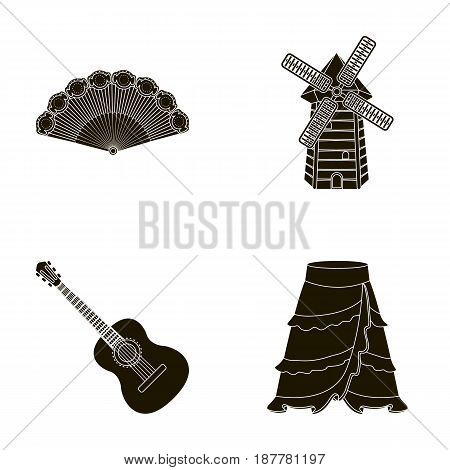 Fan Spanish, mill, guitar, skirt for national Spanish dances. Spain country set collection icons in black style vector symbol stock illustration .