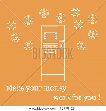 Stylized Icon Of A Colored Automatic Teller Machine Or Atm And Different Types Of Currency And Bitco
