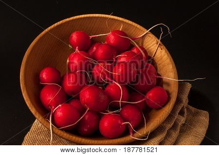 Red European Radishes / Red Radish / Red Natural European Radishes On A Black Background