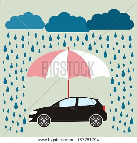 Umbrella protecting car against rain flat style. Safety insurance risk concept. Vector illustration