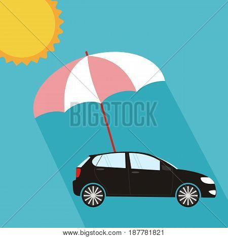 Umbrella protecting car against sun flat style. Safety insurance risk concept. Vector illustration