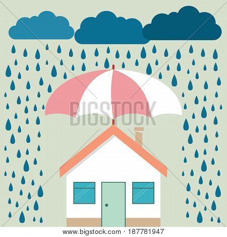 umbrella under rain protecting house. Insurance risk crisis financial problems mortgages and banking service