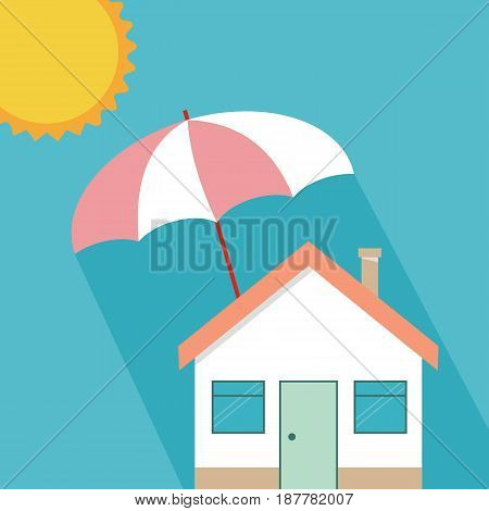 House insurance concept residential home real estate protection flat cartoon house protected under umbrella home safety security shield vector illustration