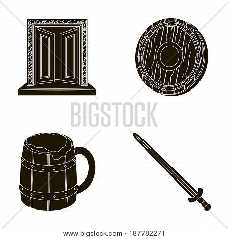 A gate to the treasure, a shield for protection, a mug with a bra, a sword. Vikings set collection icons in black style vector symbol stock illustration .