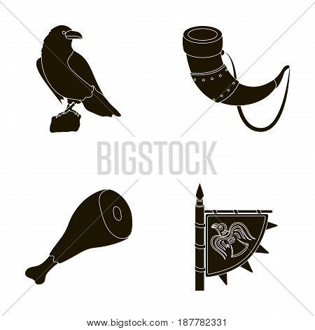 Sitting crow, horn with drink, ham, victory flag. Vikings set collection icons in black style vector symbol stock illustration .