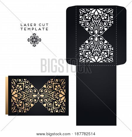 Vector wedding card laser cut template. Vintage decorative elements. Hand drawn background. Islam, Arabic, Indian, ottoman motifs. Vector illustration