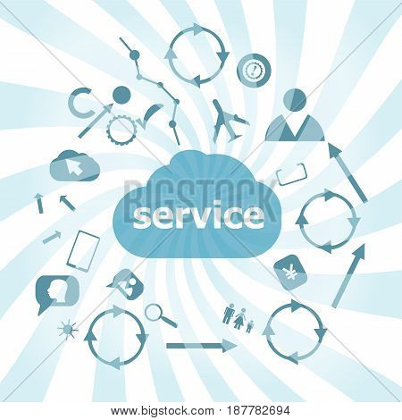 Text Service. Business Concept . Set Of Web Icons For Business, Finance And Communication
