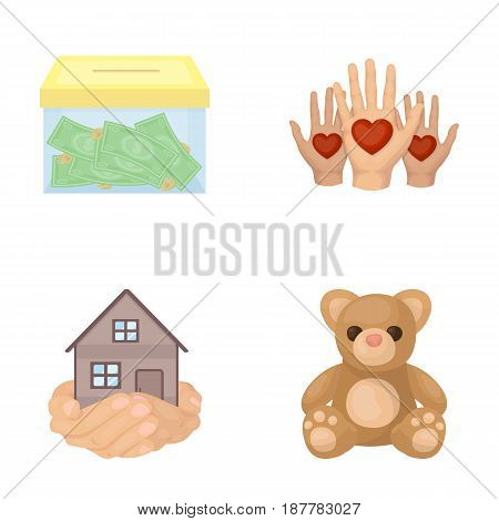 Boxing glass with donations, hands with hearts, house in hands, teddy bear for charity. Charity and donation set collection icons in cartoon style vector symbol stock illustration .