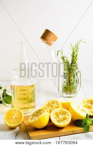Ingredients For Lemonade - Syrup, Lemons, Greens