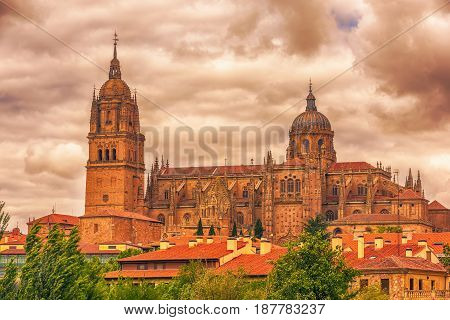 Salamanca, Spain: The New Cathedral, Catedral Nueva at the sunset