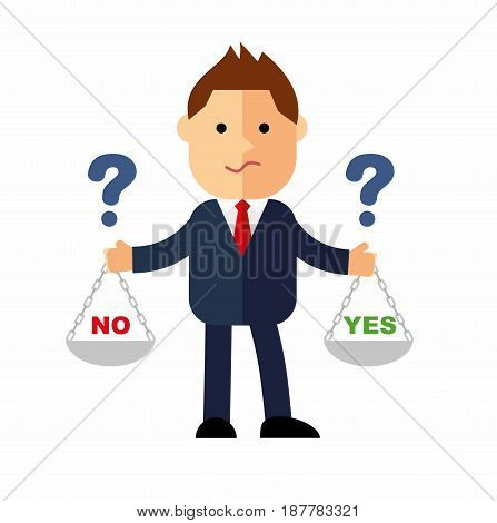 Cartoon businessman, the manager with weights in his hands is to choose yes or no. Question marks over the head man in a business suit.