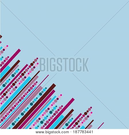 Light blue background with pink stripes and dots