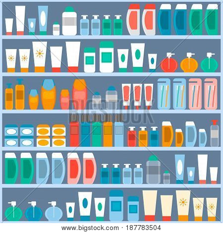 rack with the goods in the store cosmetics hygiene and personal care. vector illustration. flat style.