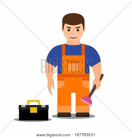 young male plumber in overalls with a plunger in hand and a tool box on a white background. vector illustration. flat. cartoon.