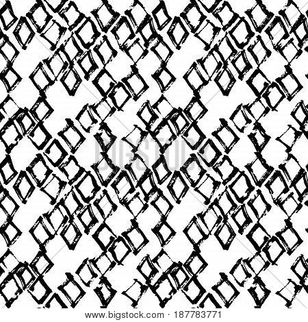 Abstract geometric seamless hand drawn pattern. Monochrome brush painted background.Modern grunge texture.