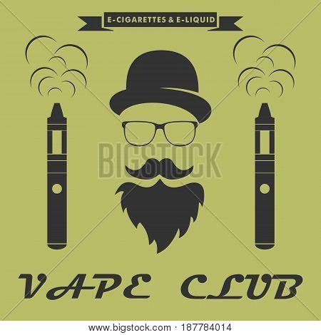 Vape club logo. hipster with electronic cigarette. Vape shop banner concept. Vector illustration