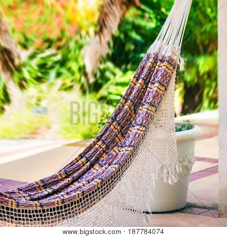 Empty colorful cloth and rope hammock hanging by the garden patio
