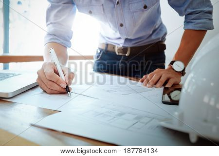 Engineer Meeting For Architectural Project. Working With Partner