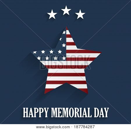 Memorial Day blue poster with star. Vector illustration.