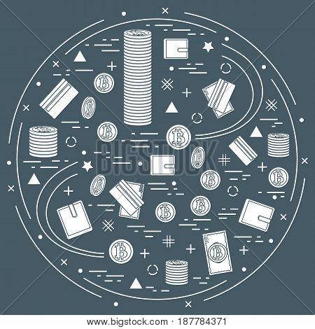 Vector Illustration Of Different Money, Investment And Financial Icons Arranged In A Circle. Includi