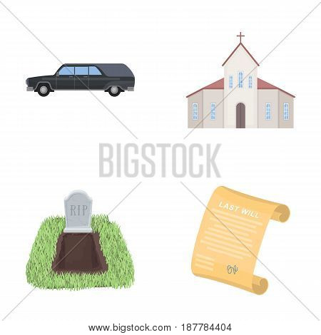 Black cadillac to transport the grave of the deceased, a church for a funeral ceremony, a grave with a tombstone, a death certificate. Funeral ceremony set collection icons in cartoon style vector symbol stock illustration .