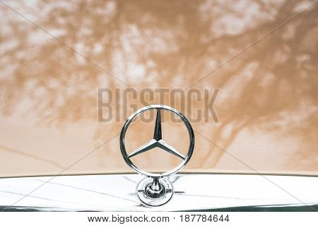 MOSCOW, RUSSIA - May 21, 2017. Mercedes-Benz emblem logo on car