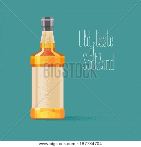 Whiskey bottle vector illustration. Concept design for travel to Scotland with traditional alcohol drink whiskey