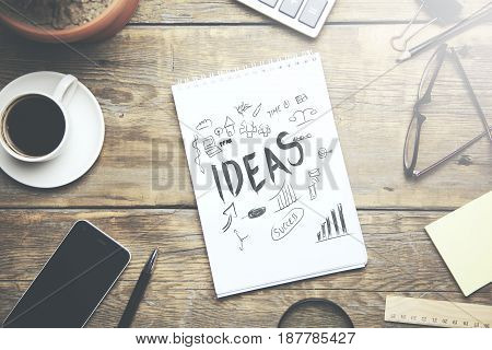 Ideas Designer Notebook Office Concept on table